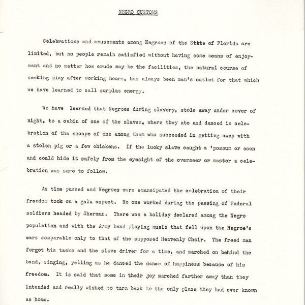 An excerpt from the Florida Negro Papers