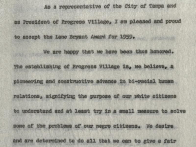 Public Address on Progress Village